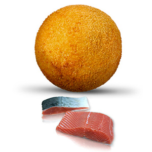 Arancino con salmón, calabacín y queso provola
