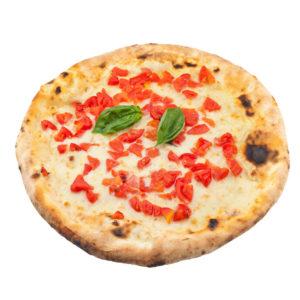 Pizza margherita con mozzarella de búfala y tomates cherry frescos