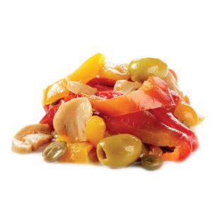 peperoni saltati in padella con olive e capperi