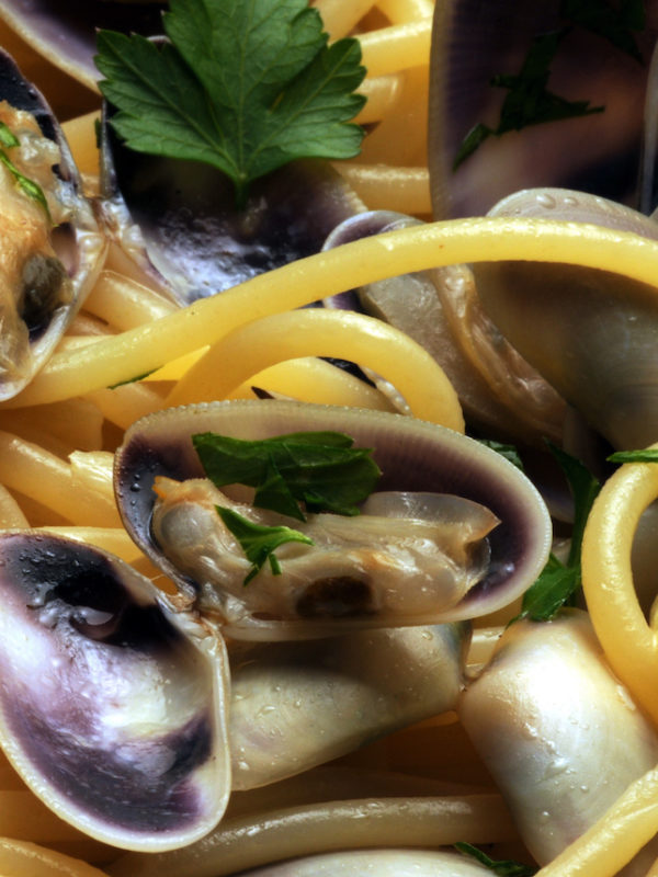 Spaghettone con telline del litorale laziale