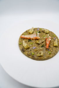 risotto champignones e gamberi rossi