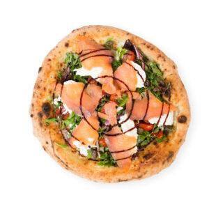 Pizza de salmón y burrata