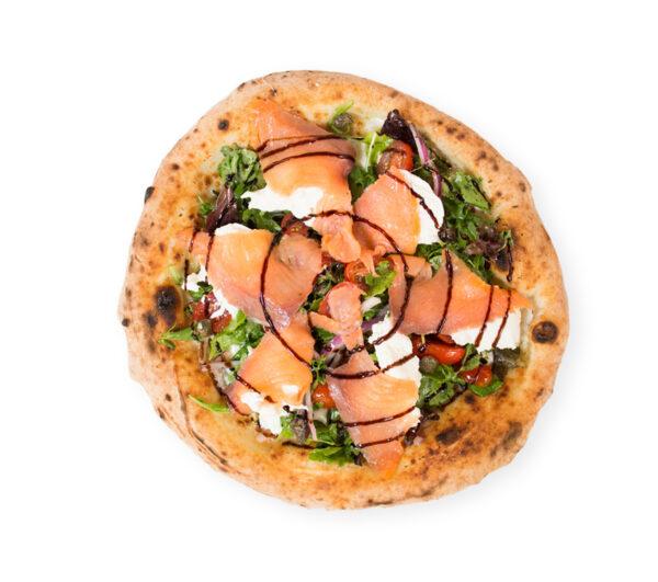 Salmon and burrata pizza