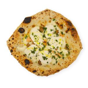 pizza blanca con mozzarella y setas porcini