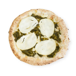 pizza friarielli or Neapolitan broccoli and smoked mozzarella