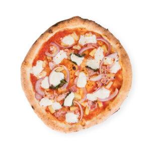 Pizza margherita con mozzarella y cebolla roja Tropea