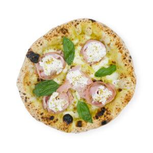 Pizza à la mortadelle et mozzarella fumée