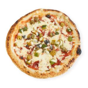 Pizza with zucchini and tomato from Vesuvius piennolo