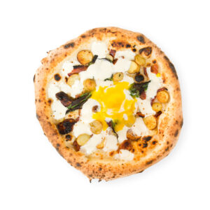 Pizza with porcini, burrata and yellow cherry tomatoes